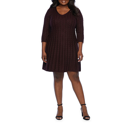 Jessica Howard-Plus 3/4 Sleeve Sweater Dress
