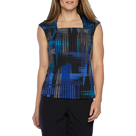 Black Label by Evan-Picone Womens Square Neck Sleeveless Knit Blouse