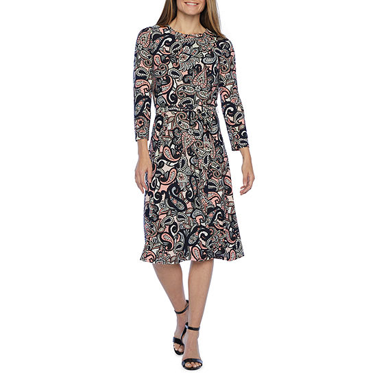 Black Label by Evan-Picone 3/4 Sleeve Paisley Fit & Flare Dress
