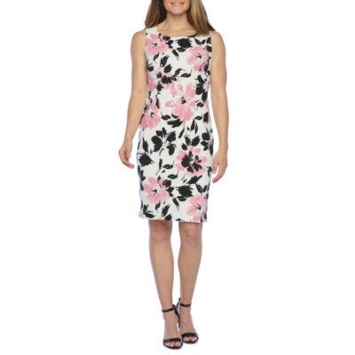 Black Label by Evan-Picone Sleeveless Floral Midi Sheath Dress
