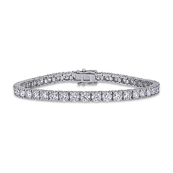 Lab Created White Moissanite 14K White Gold 7 Inch Tennis Bracelet