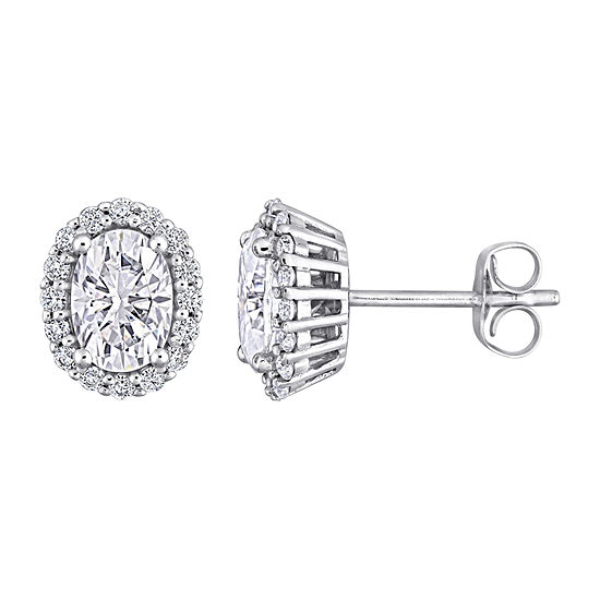 2 1/3 CT. T.W. Lab Created White Moissanite 10K White Gold Ear Pins