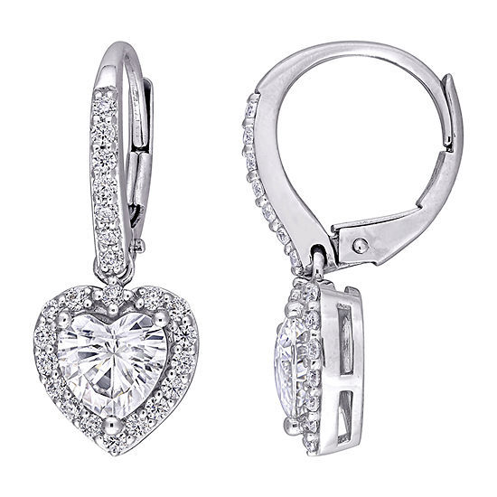 2 CT. T.W. Lab Created White Moissanite 10K White Gold Heart Drop Earrings