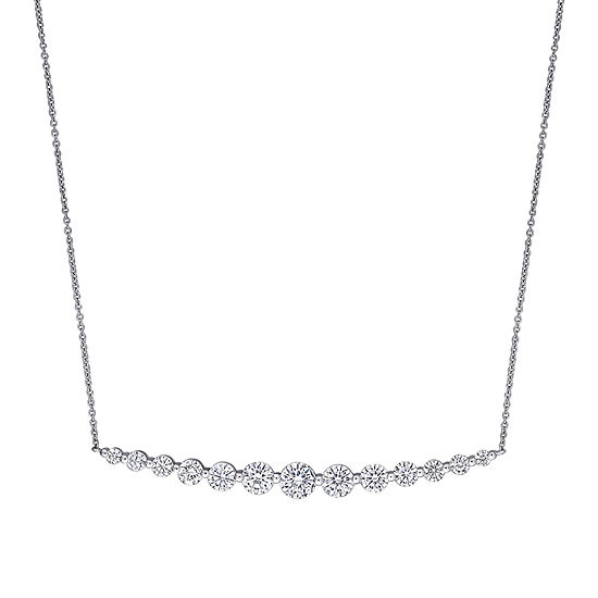 Womens 2 1/2 CT. T.W. Lab Created White Moissanite 10K White Gold Pendant Necklace