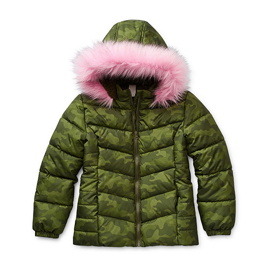Arizona-Big - Girls Plus Hooded Fleece Lined Faux Fur Trim Heavyweight Puffer Jacket