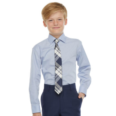 Collection By Michael Strahan Long Sleeve Shirt + Tie Set - Boys 8-20 Regular and Husky