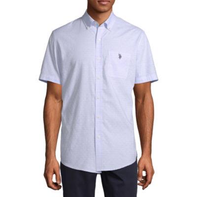 U.S. Polo Assn. Mens Short Sleeve Checked Button-Down Shirt
