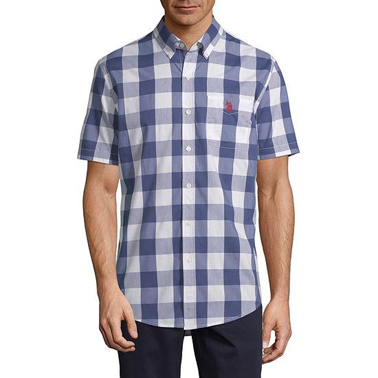 U.S. Polo Assn. Stretch Mens Short Sleeve Plaid Button-Down Shirt