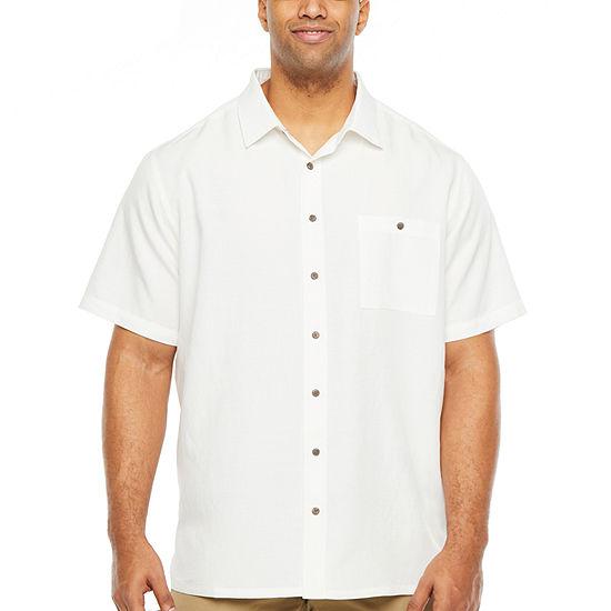 Campia Big and Tall Slub Weave Sportshirt Mens Short Sleeve Button-Down Shirt