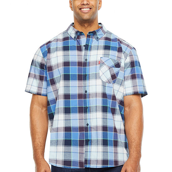 Levi's Big and Tall Wovens Mens Short Sleeve Plaid Button-Front Shirt