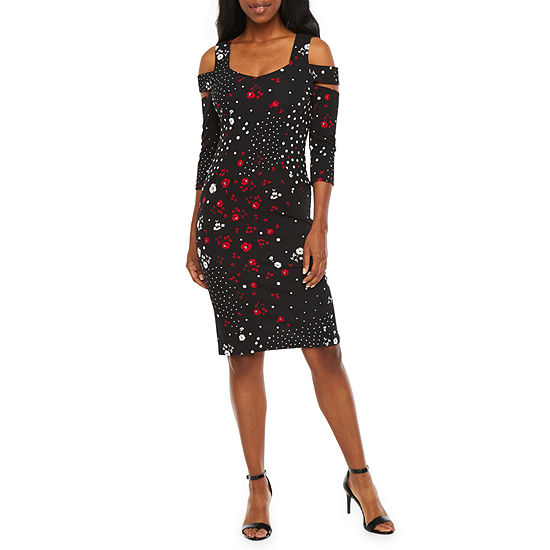 Bold Elements 3/4 Sleeve Floral Midi Bodycon Dress