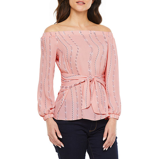 Bold Elements Womens Straight Neck Long Sleeve Blouse