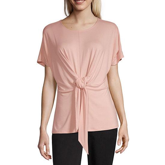 Worthington-Womens Crew Neck Short Sleeve T-Shirt