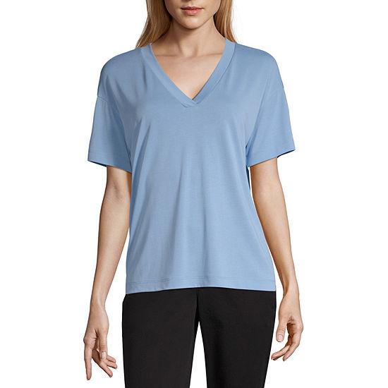 Worthington Womens V Neck Short Sleeve T-Shirt