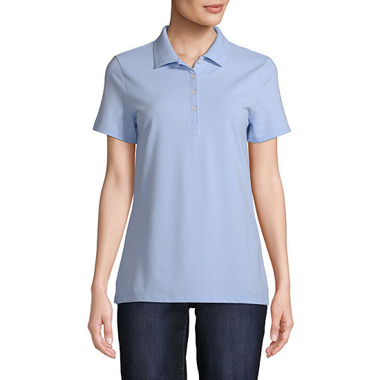St. John's Bay Womens Short Sleeve Knit Polo Shirt