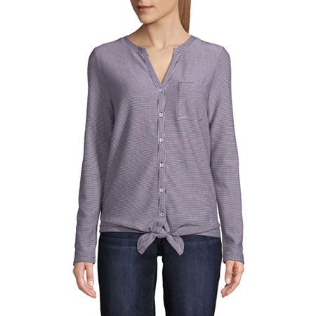 St. John's Bay Womens Split Crew Neck Long Sleeve T-Shirt, Small , Black
