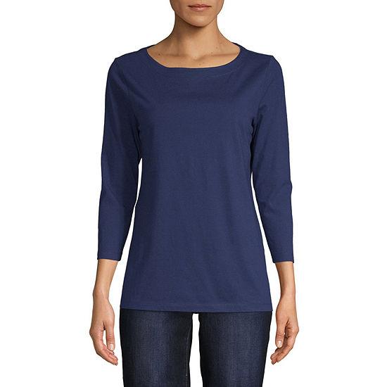 St. John's Bay-Womens Boat Neck Long Sleeve T-Shirt