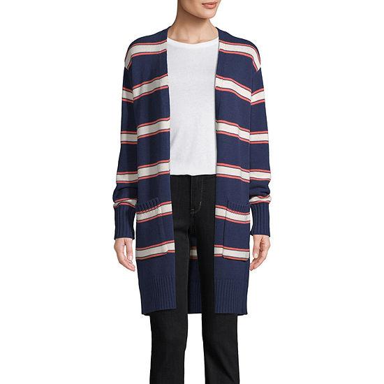 St. John's Bay Womens Long Sleeve Open Front Striped Cardigan
