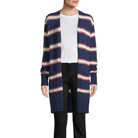 St. John's Bay Womens Long Sleeve Open Front Striped Cardigan, Small , Blue