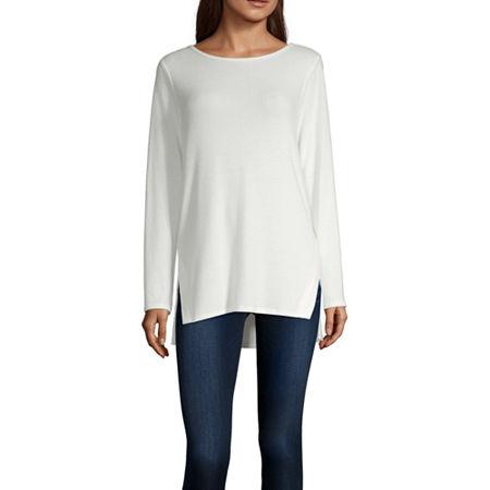 Alyx Womens Round Neck Long Sleeve Tunic Top, Medium , White