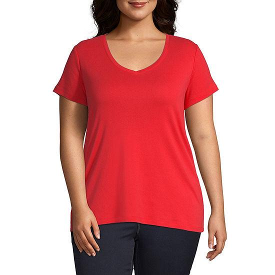 St. John's Bay Plus-Womens V Neck Short Sleeve T-Shirt
