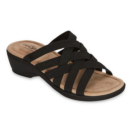 east 5th Womens Irma Wedge Sandals, 5 Medium, Black