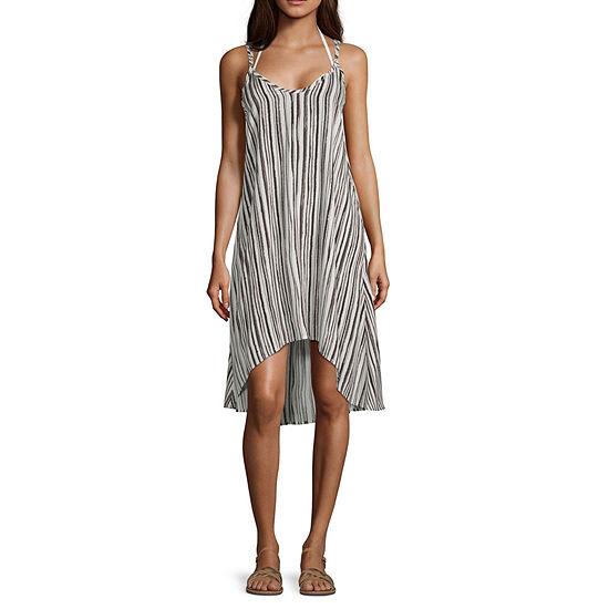 Lm Beach Striped Dress Swimsuit Cover-Up
