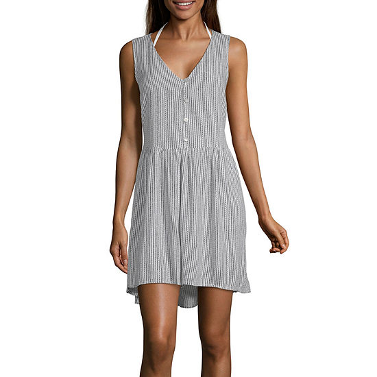 Porto Cruz Striped Swimsuit Cover-Up Dress