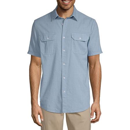 1940s Men's Shirts, Sweaters, Vests St. Johns Bay Mens Short Sleeve Button-Front Shirt $11.24 AT vintagedancer.com