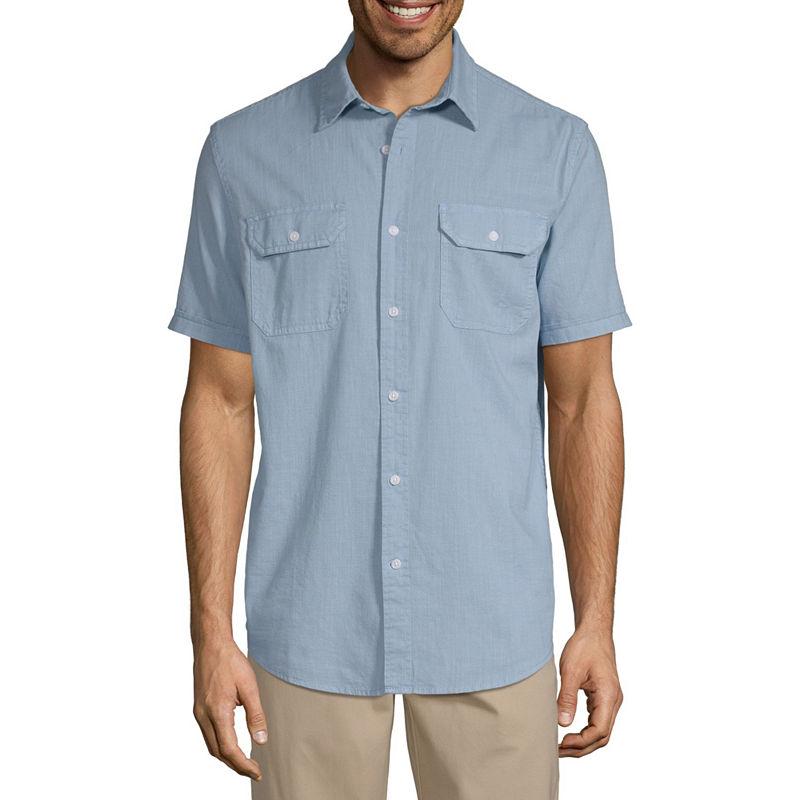 1940s Men's Shirts, Sweaters, Vests St. Johns Bay Mens Short Sleeve Button-Front Shirt $15.99 AT vintagedancer.com