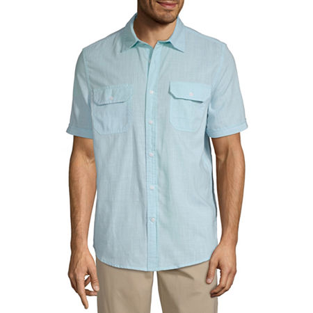 Vintage Mens Clothing | Retro Clothing for Men St. Johns Bay Mens Short Sleeve Button-Front Shirt $13.49 AT vintagedancer.com