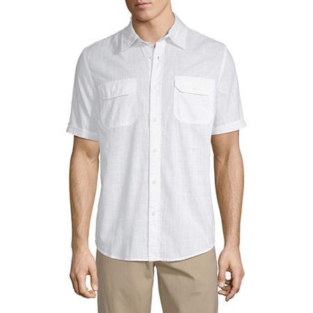 1940s Men's Shirts, Sweaters, Vests St. Johns Bay Mens Short Sleeve Button-Front Shirt Large  White $20.99 AT vintagedancer.com