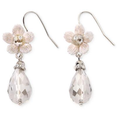 Flower & Crystal Teardrop Dangling Earrings