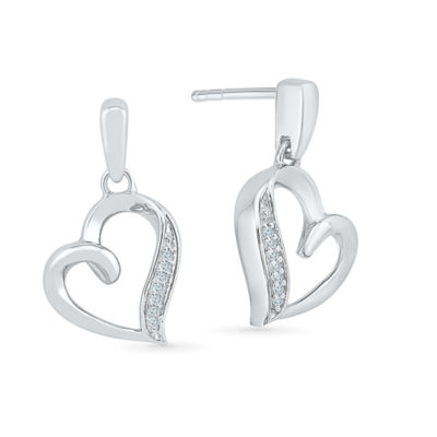 Diamond Accent Genuine White Diamond 10K Gold Drop Earrings