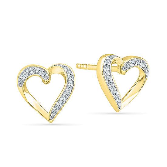 1/10 CT. T.W. Genuine White Diamond 10K Gold 10mm Stud Earrings