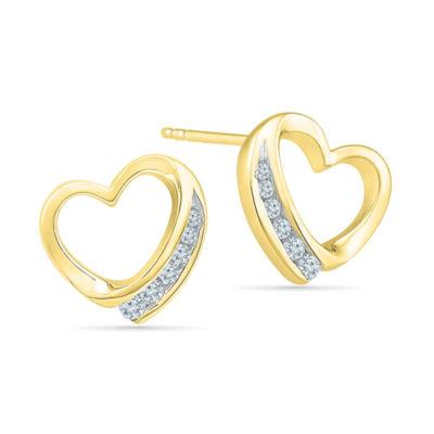 1/6 CT. T.W. Genuine White Diamond 10K Gold 11mm Stud Earrings