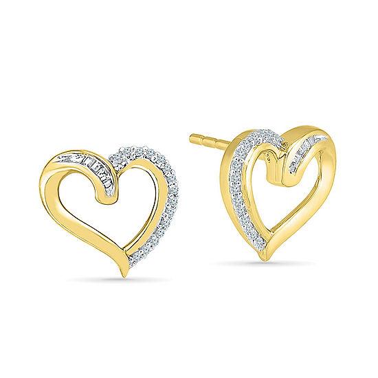 1/8 CT. T.W. Genuine White Diamond 10K Gold 12mm Stud Earrings