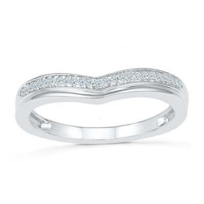 Womens White Diamond 10K Gold Delicate Cocktail Ring