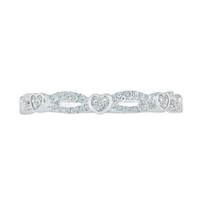 Womens White Diamond 10K Gold Band