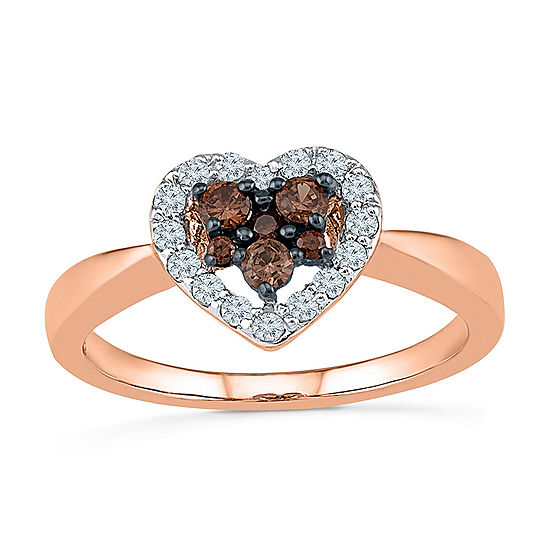 Womens Genuine Brown Diamond 10K Rose Gold Heart Delicate Cocktail Ring