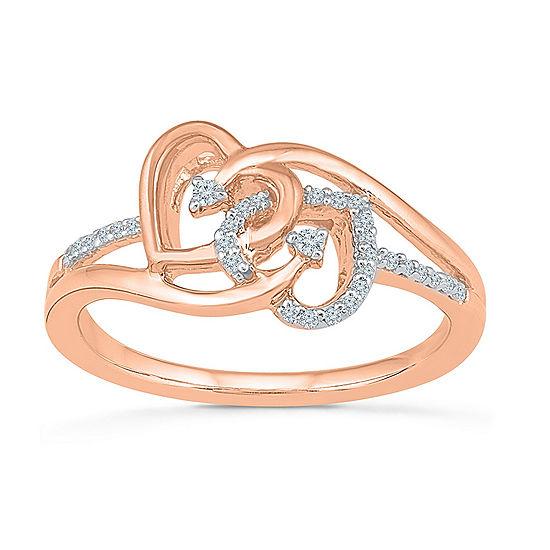 Womens Genuine White Diamond 10K Gold Delicate Cocktail Ring