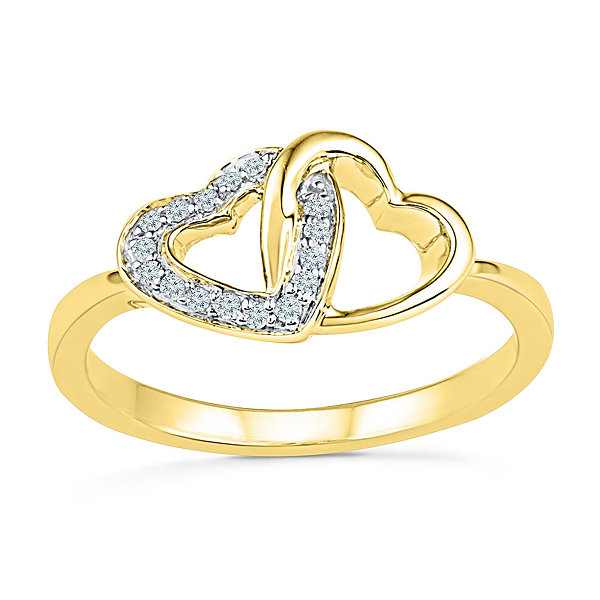 Womens White Diamond 10K Gold Delicate Ring