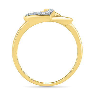 Womens White Diamond 10K Gold Delicate Cocktail Ring
