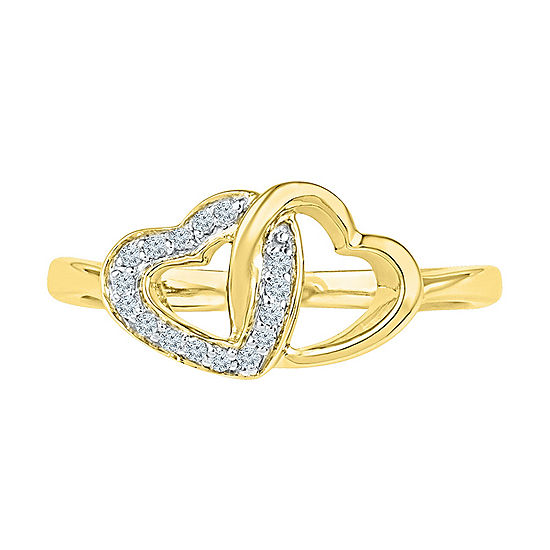 Womens Genuine White Diamond 10K Gold Delicate Cocktail Ring