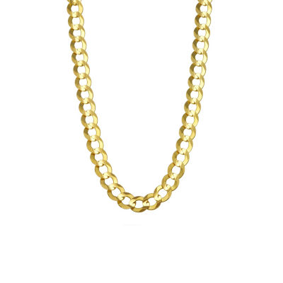 """14K Yellow Gold 7MM Curb Necklace 28"""""""