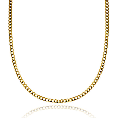 """14K Yellow Gold 3.15 MM Curb Necklace 28"""""""
