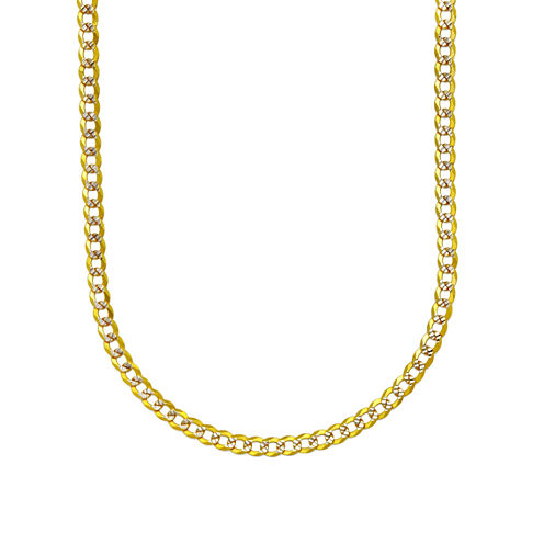14K Two Tone 3.15MM Diamond Cut Curb Necklace 28""