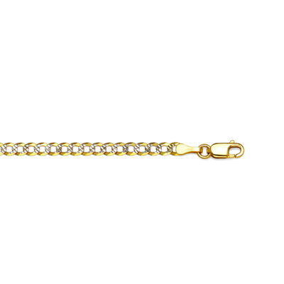 14K Two Tone 3.15 MM Diamond Cut Curb Necklace