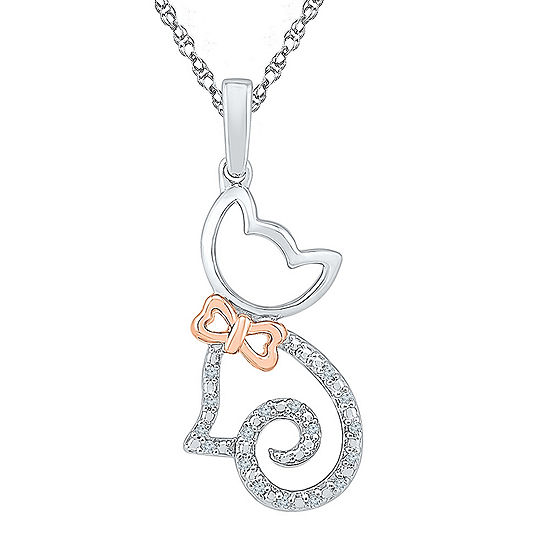 Womens Diamond Accent Gold Over Silver Cat Pendant Necklace
