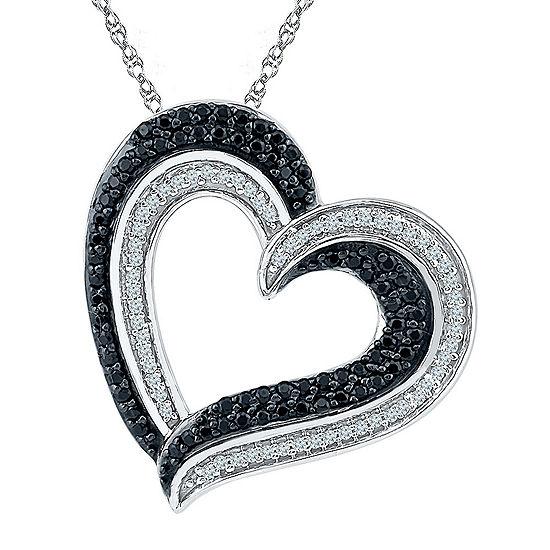 Womens 3/8 CT. T.W. Black Diamond Sterling Silver Pendant Necklace